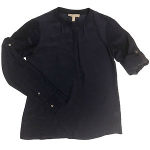 Banana Republic Silk Blouse Size Xs Navy Blue Tuni